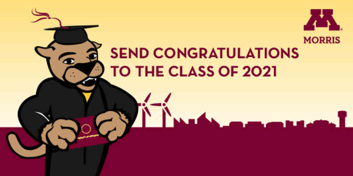 Pounce the cougar mascot in graduation cap and gown with the message,